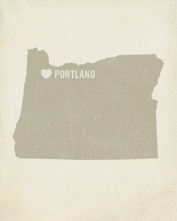 I Love Portland Wood Block Art Print - Oregon City State Heart