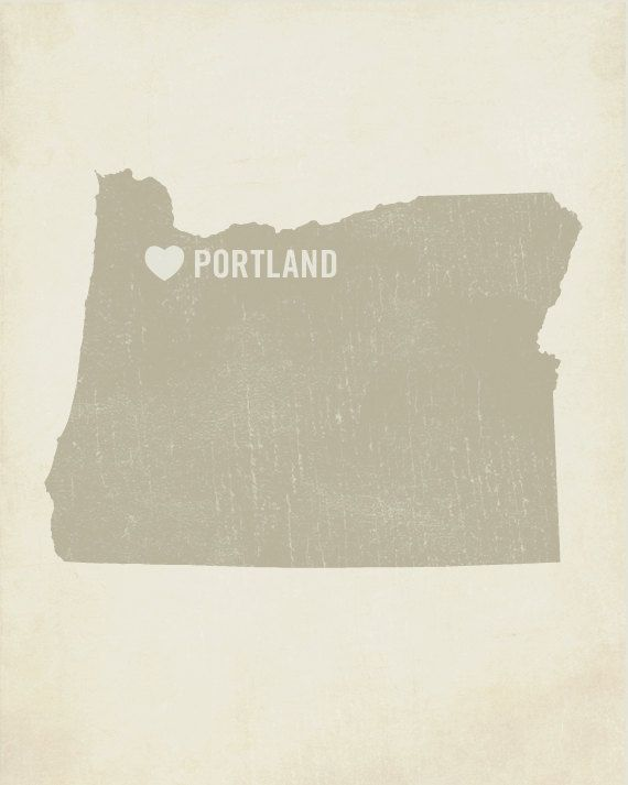 I Love Portland Wood Block Art Print - Oregon City State Heart
