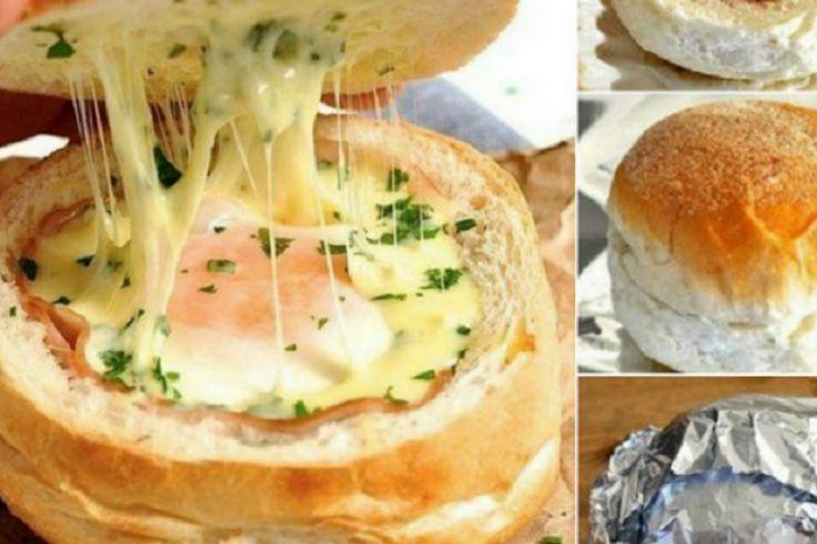 Le sandwich! Oeuf jambon formage dans un bol fait d'un pain!