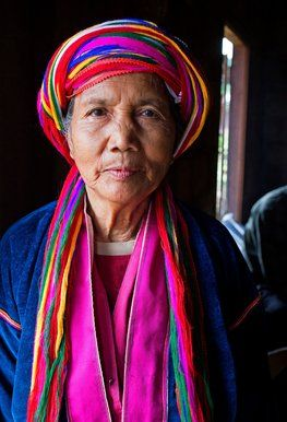 In the mountainous Palaung tribal village of Pein Ne Pin in Myanmar, the women wear a traditional headdress and a velvet jacket.