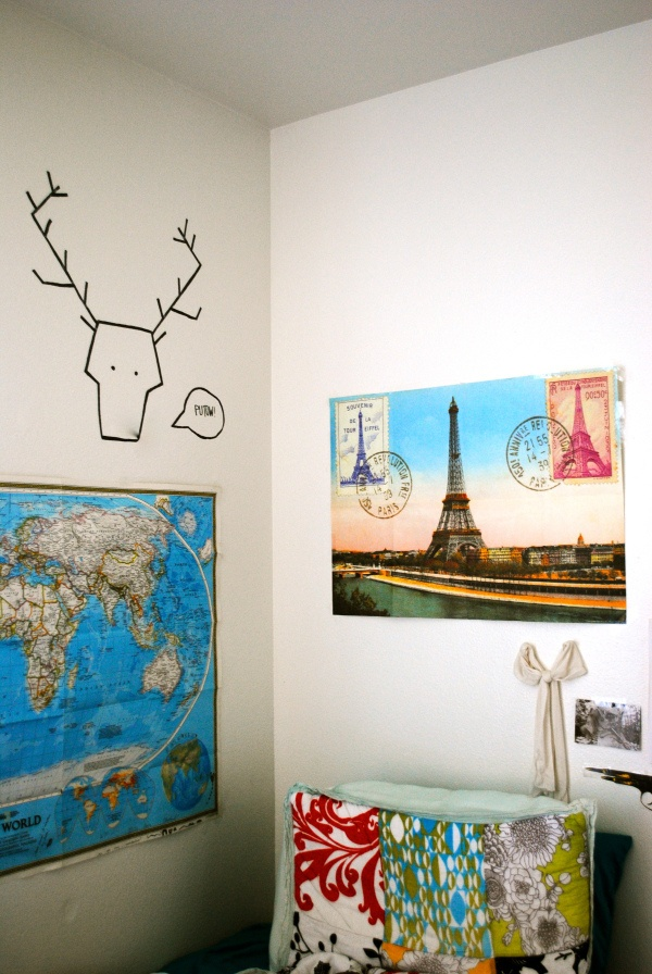 Use washi tape to create fun pictures on your dorm room wall!