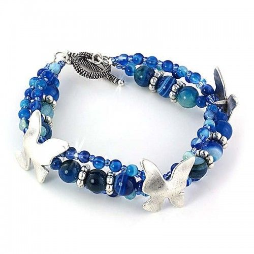 Blue Flutter Agate Bracelet Design By Beads Jar. Visit Our Website For Free  Step By