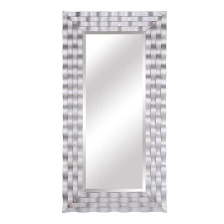 "Selections by Chaumont Kennedy Leaner - Satin Nickel - 30x 59 7/8""x 2"" (Satin Nickel - 30""x 59 7/8""x 2"" - Resin - Rectangular - Horizontal/Vertical - Transitional/Nautical/Contemporary - Leaning/Full Length/Wall Mirror), Size 30""x 59 7/8""x 2"""