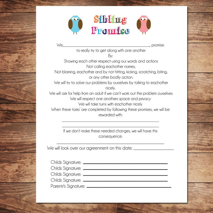 Printable Sibling Contract, Behavioral Chart, Chore Chart, Schedule, Personalize and Customize
