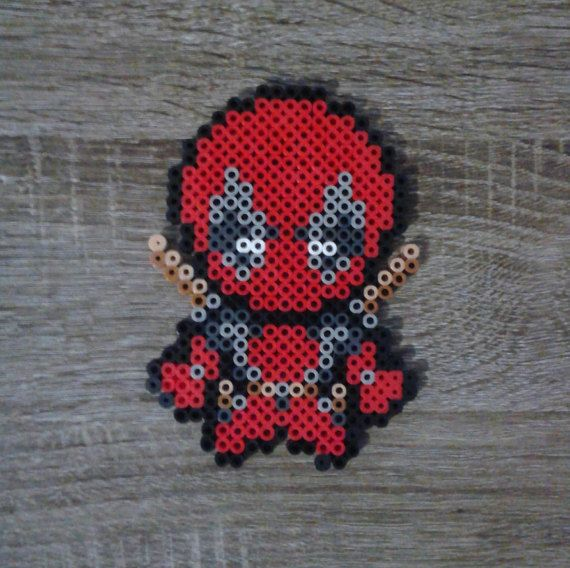 Chibi DeadPool Perler Beads                                                                                                                                                     Plus