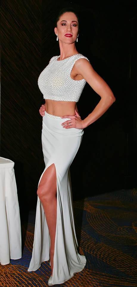 Long evening skirt and full beaded top