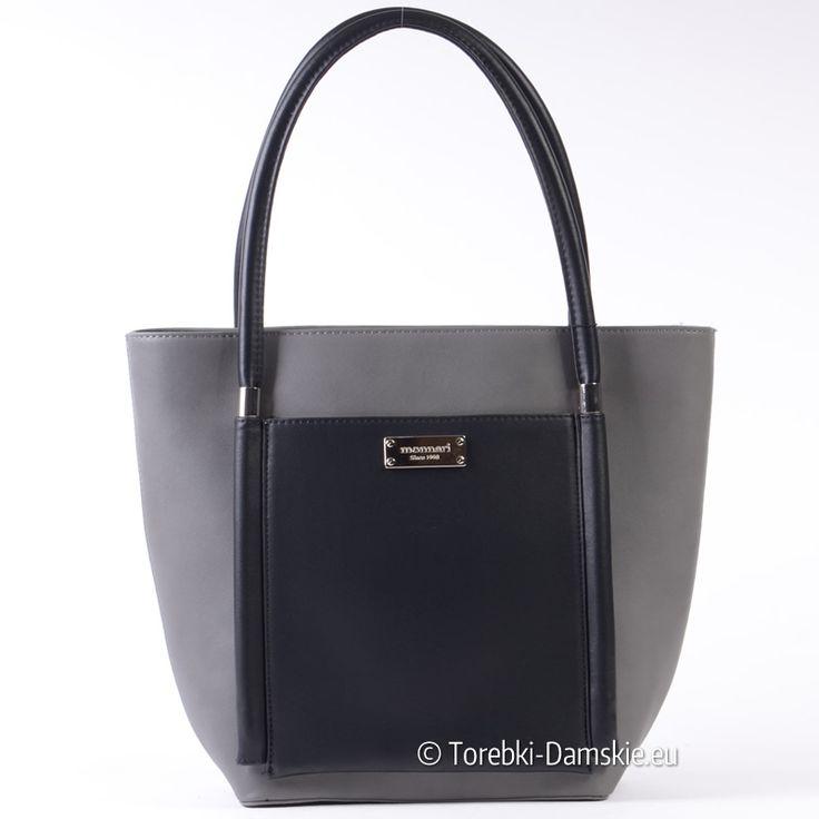 Szaro - czarna torba damska Monnari - shopper / teczka A4 w nowoczesnym stylu. Model z najnowszej kolekcji - Zobacz duże zdjęcia w pełnej jakości -> Klik http://torebki-damskie.eu/szare/1329-szara-torba-monnari-z-czarnym.html