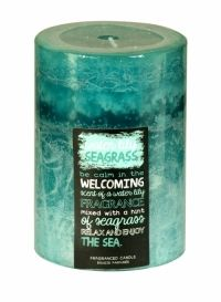 SIL LAYERED BLUE SCENTED CANDLE 10 X 7CM WATER LILY SEAGRASS