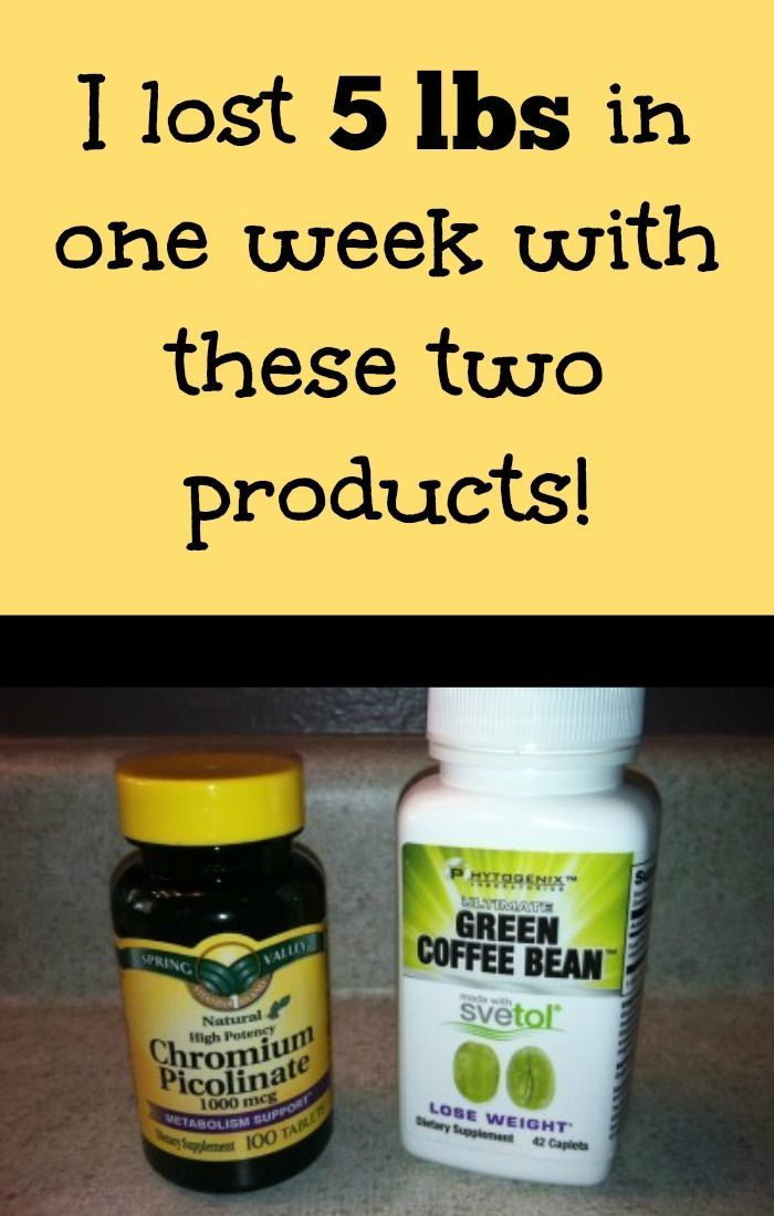 I lost 5 lbs in one week with these two products: chromium picolinate and green coffee bean with svetol tablets.