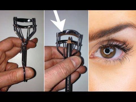 Easy eyeliner trick using eyelash curler!