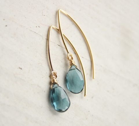 London Blue Topaz Earrings - 14KT Gold Filled - Simple Hooks