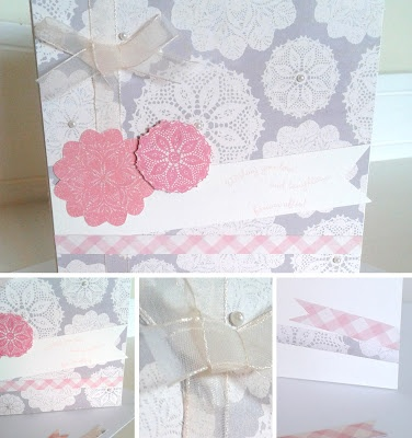 Modern grey and pink Wedding card using designer papers by My Mind's Eye and sentiment stamp by Stampin' up