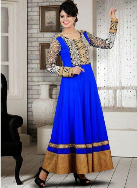 Glamorous Blue Net Embellished #Salwar #Kameez #clothing #fashion #womenwear #womenapparel #ethnicwear