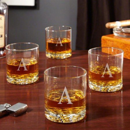 Buckman Initial Old Fashioned Glasses, Set of 4 - tap, personalize, buy right now!