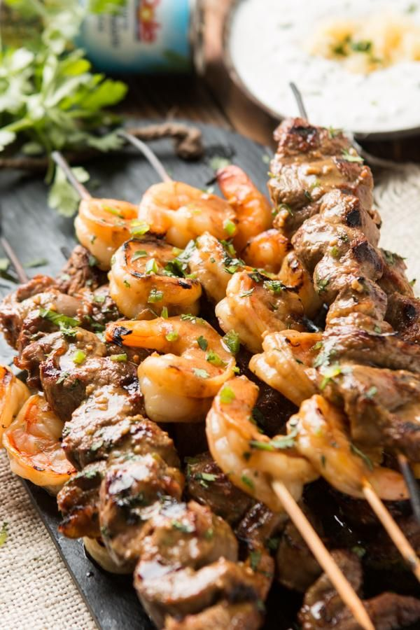 Spicy Surf and Turf Kebabs with pineapple dipping sauce from @ohsweetbasil