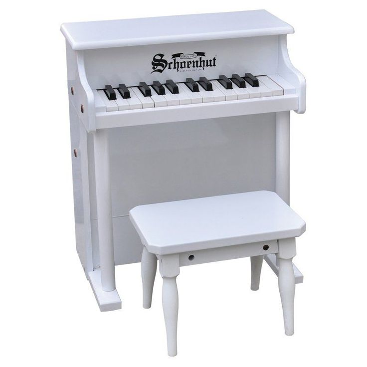 Schoenhut 25 Key White Traditional Spinet Piano - 6625W