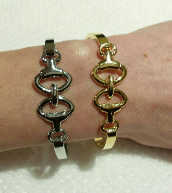 Christmas Gift Idea - Horse Bit Bangle Bracelet $32.99 https://www.etsy.com/listing/185938075/horse-bit-bracelet-silver-bit-bangle