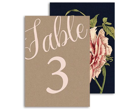 Bohemian floral table numbers - Botanical pink peony rose wedding reception - Navy, Pink, kraft - 5x7   Pink peony by NicyaPrintables on Etsy