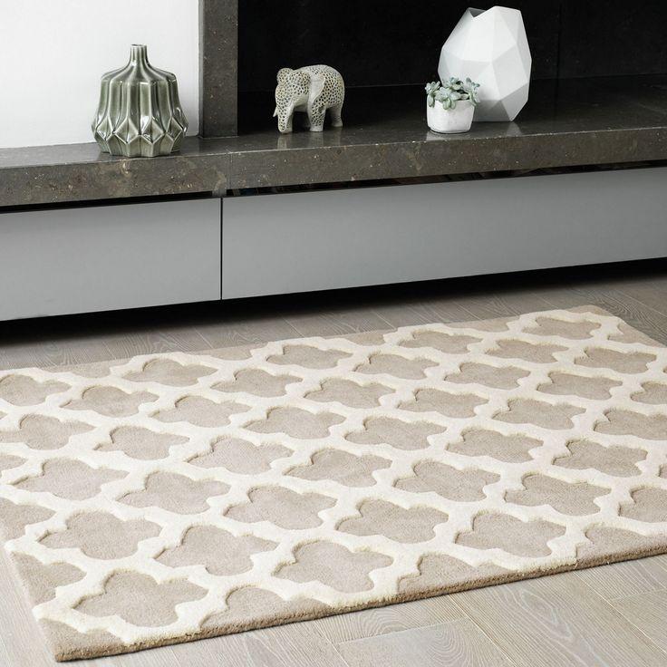 Debenhams beige wool 39 artisan 39 rug at sitting room - Tapis graphique noir et blanc ...