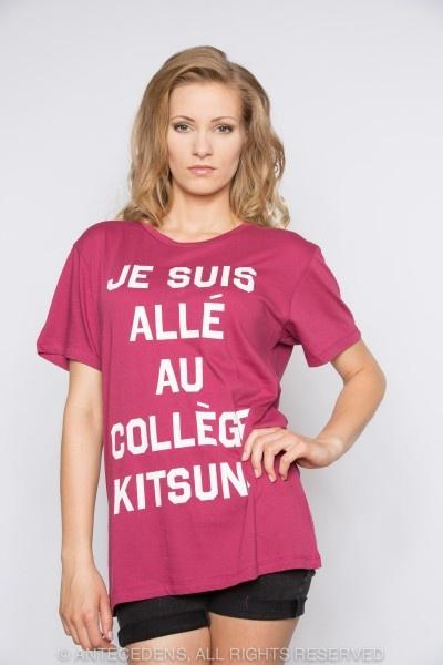 MASION KITSUNÉ Je suis alle au College Kitsune Print - Lila/Weiß, T-Shirt, Unisex @ antecedens.de