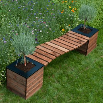 "Banc de jardin en ""S"" + 2 bacs à fleurs carrés COLLECTORS -SELEKT"