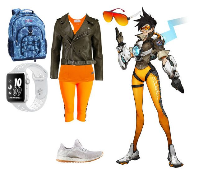 """""""Cheers love, the cavalry's here!"""" by saleonsea ❤ liked on Polyvore featuring adidas, Boohoo, PBteen, NIKE, Carrera, gamer, videogame, Overwatch and tracer"""