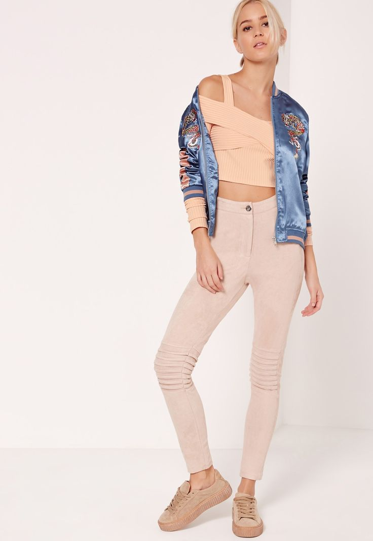 Missguided - Ribbed Supported Bardot Crop Top Nude