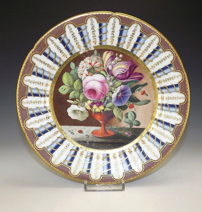 Antique English Porcelain - Still Life Of Flowers Gilded Plate - Beautiful! & 389 best Hand Painted antique porcelain images on Pinterest | China ...