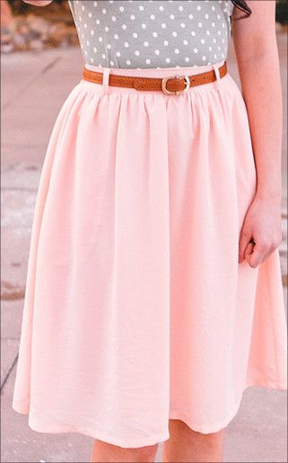 Perfect modest knee length chiffon skirt, shown in pink. Great for spring! 100% Polyester. Machine wash cold, hang dry.