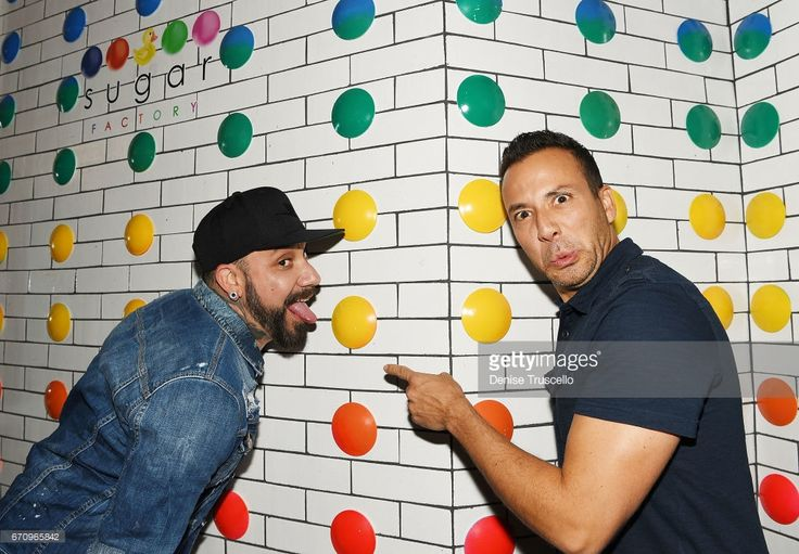 Singers AJ McLean (L) and Howie Dorough of the Backstreet Boys attend the grand opening of Sugar Factory American Brasserie at the Fashion Show mall on April 20, 2017 in Las Vegas, Nevada.