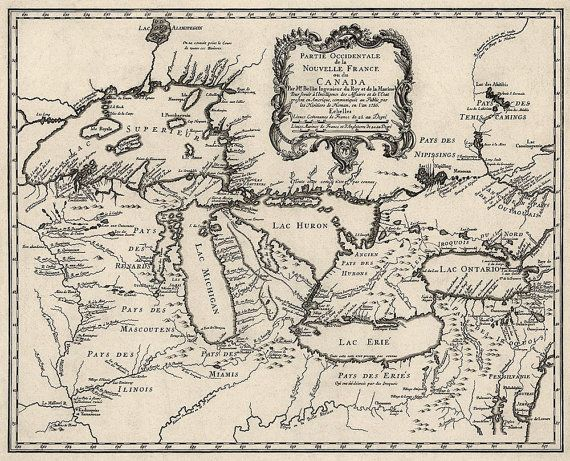 """Antique Map of the Great Lakes (1755) by Jacques Bellin - 18.6""""x23"""" - Archival Print. $42.00, via Etsy."""