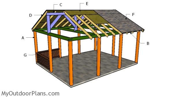 16x20 Picnic Shelter Plans Myoutdoorplans Free Woodworking Plans And Projects Diy Shed Wooden Playhouse Pergola Bbq Wooden Playhouse Diy Shed Pergola