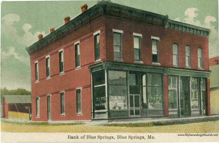 Blue Springs, Missouri, Bank of Blue Springs, vintage postcard photo