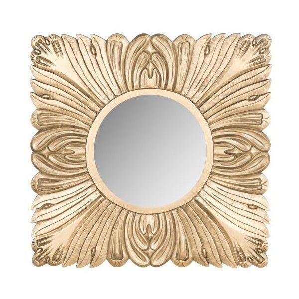 "Safavieh MIR5001 28"" x 28"" Framed Circular Mirror from the Acanthus (£98) ❤ liked on Polyvore featuring home, home decor, mirrors, gold, framed mirrors, grey mirror, circular mirrors, gray framed mirror and gray home decor"