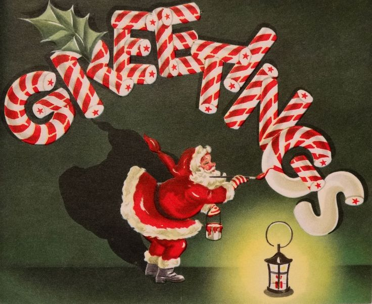 #406 50s Santa Paints Stripes on the Candy Cane-Vintage Christmas Card-Greeting