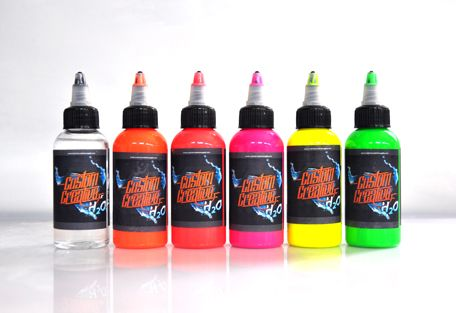 Pintura de aerografía al agua en colores fluor de la línea H2O de Custom Creative.