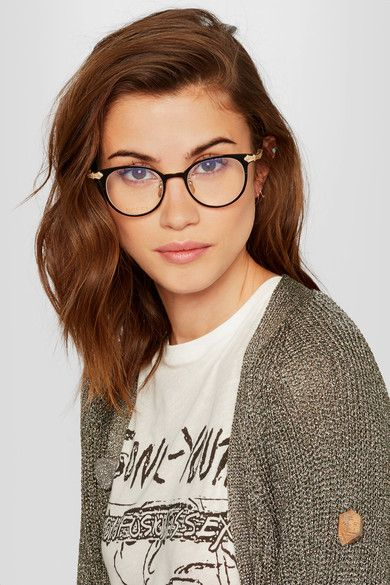 Gucci | Round-frame acetate and gold-tone optical glasses | NET-A-PORTER.COM