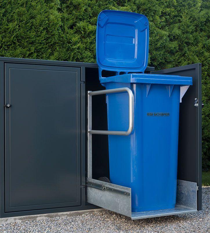 Mülltonnenbox Modell MONO mit ausgezogener Schublade, Tonne geöffnet