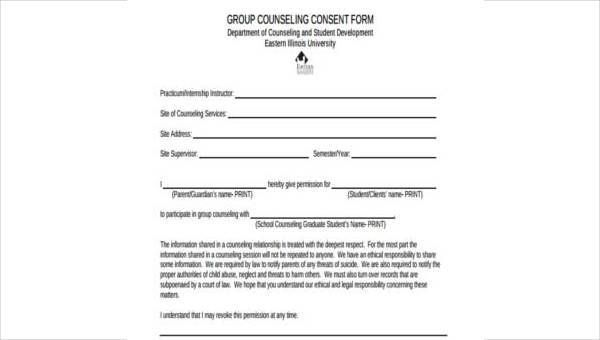 Sample Counselling Consent Forms 8 Free Documents In Word Pdf