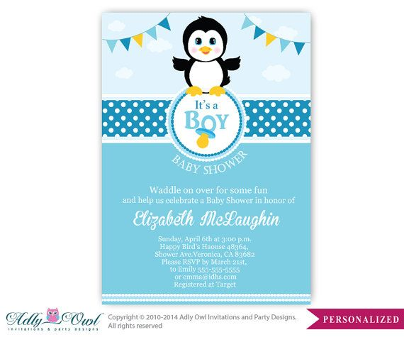 Boy Penguin Baby Shower Invitation Penguin by aoprintablesforkids