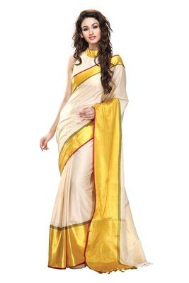 White and Yellow Color Cotton Saree with blouse