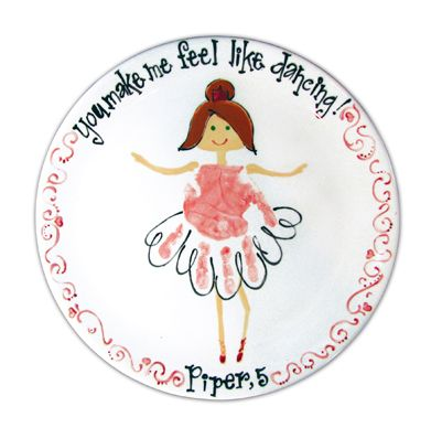 Dancing hand prints. This is a great idea to add to a plate at The Funky Teapot.co.uk See more at www.facebook.com/thefunkyteapot
