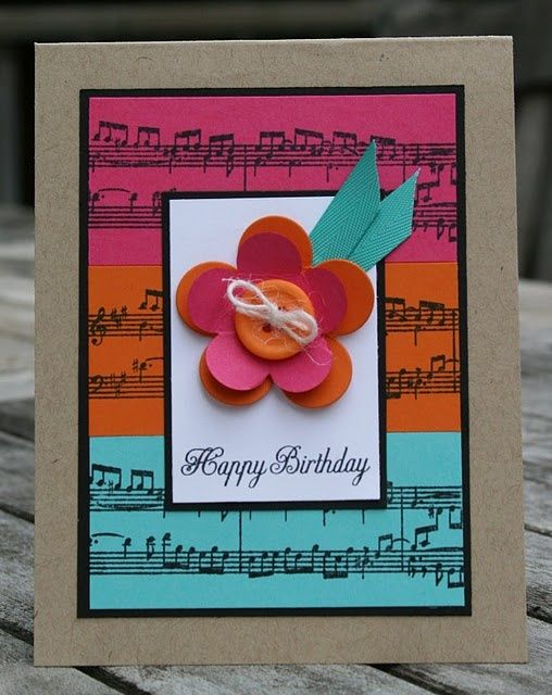 Colorful birthday card - Could use music embossing folder for this