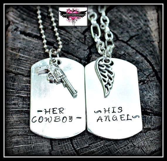 Hey, I found this really awesome Etsy listing at http://www.etsy.com/listing/150933077/his-angel-her-cowboy-couples-necklace