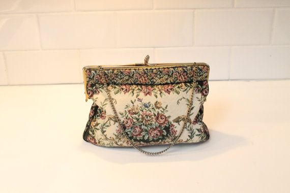 Tapestry Clutch Evening Bag Tapestry Purse by ClockworkRummage