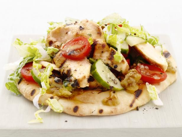 Chicken Salad Pita with Baba Ghanoush from #FNMag #Protein #Grains #Veggies #MyPlate: Food Network, Baba Ghanoush, Chicken Salad, Foodnetwork Com, Network Kitchens, Grilled Chicken, Chicken Pita, Ghanoush Recipes, Salad Pita