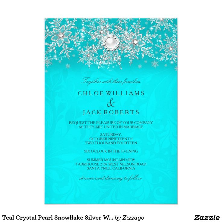 Teal Crystal Pearl Snowflake Silver Winter Wedding 5x7 Paper Invitation Card