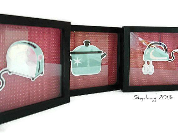 vintage kitchen appliances | Retro Kitchen Appliance Shadowbox Pictures - Framed Set - Aqua and Red ...