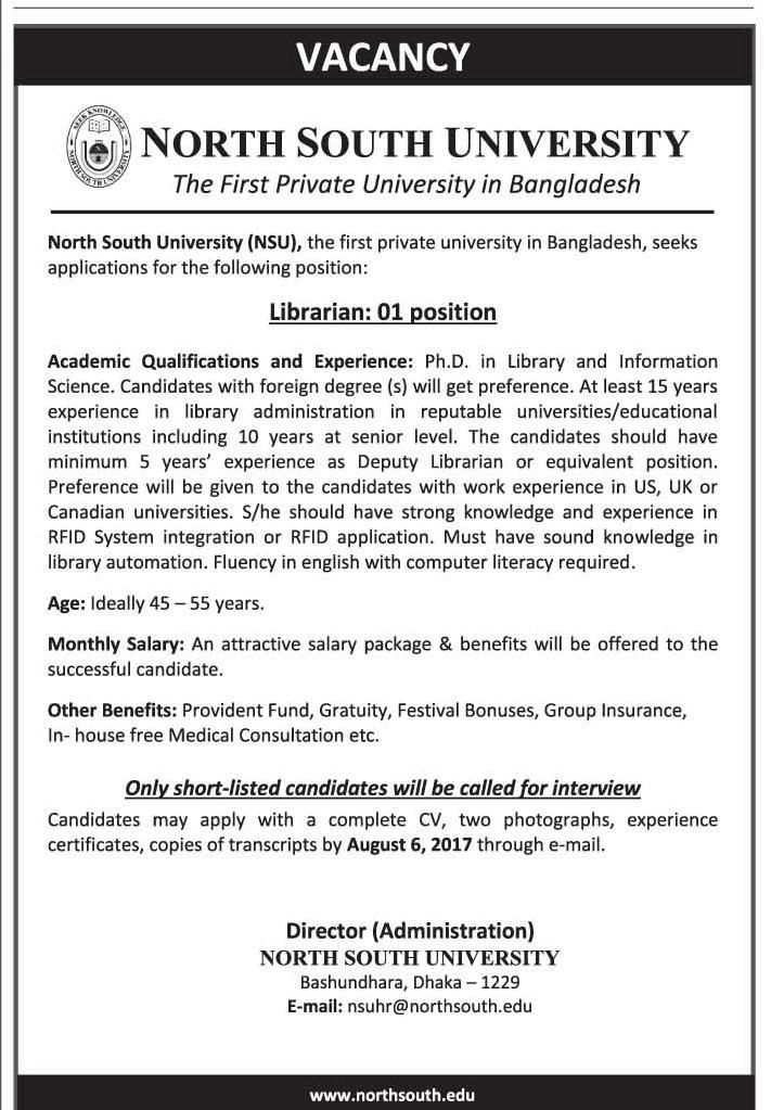 Vacancy Announce As Librarian At North South University