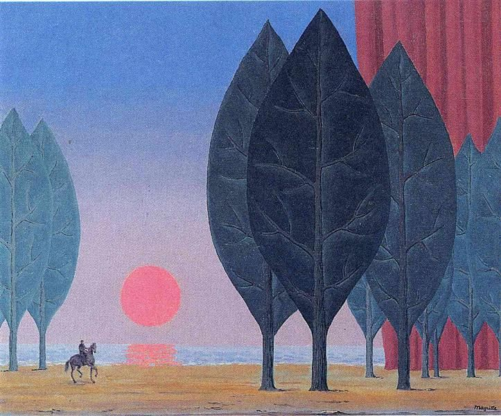 Forest of Paimpont, 1963 by Rene Magritte, Later Period. Surrealism. symbolic painting
